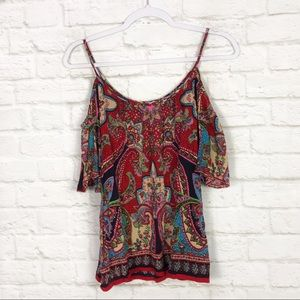 Patrons Of Peace Boho Cold Shoulder Paisley Top M